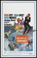 "Movie Posters:James Bond, On Her Majesty's Secret Service (United Artists, 1969). Window Card (14"" X 22""). James Bond Action. Starring George Lazenby,..."