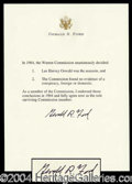 Autographs, Gerald Ford: Warren Commission Report