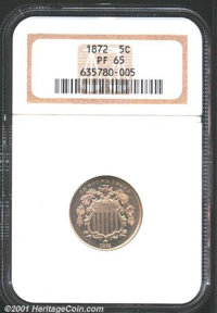 1872 5C Nickel PR 65 NGC. Whispers of golden-champagne iridescence blanket both sides, the surfaces are uniformly reflec...