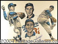 Sandy Koufax - Impressive limited edition 24 x 18 lithographic print, boldly signed by Koufax in blue felt tip marker. N...