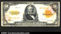 Large Size Gold Certificates:Large Size, 1922 $50 Gold Certificate, Fr-1200, VG. This note has the paper...
