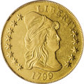 Early Eagles: , 1799 $10 Small Stars Obverse AU55 PCGS. Irregular Date, Breen-6840, Taraszka-19, BD-7, R.3. The 17 in the date tilts far to...