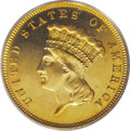 Proof Three Dollar Gold Pieces: , 1888 $3 PR65 Cameo PCGS. This unmistakable proof has deeplymirrored fields with the distinct proof texture that frame the ...