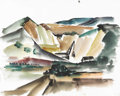Texas:Early Texas Art - Regionalists, COREEN MARY SPELLMAN (1905-1978). Untitled Rock Quarry, 1933.Watercolor (double sided). 19in. x 24in.. Unsigned, but docume...