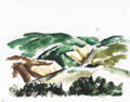 Texas:Early Texas Art - Regionalists, COREEN MARY SPELLMAN (1905-1978). Untitled Mountain Landscape withRoad, 1933. Watercolor (double sided - verso unfinished)...