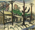 Texas:Early Texas Art - Regionalists, JOSEPHINE MAHAFFEY (1903-1982). Untitled Landscape with Houses.Watercolor. 8in. x 9in.. Signed lower right. Provenance:. ...