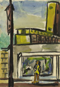 Texas:Early Texas Art - Regionalists, JOSEPHINE MAHAFFEY (1903-1982). Untitled Window Shopping.Watercolor. 9in. x 6in.. Unsigned. Provenance:. Estate of Joseph...