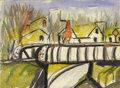 Texas:Early Texas Art - Regionalists, JOSEPHINE MAHAFFEY (1903-1982). Untitled Railway Bridge.Watercolor. 6in. x 8in.. Unsigned. Provenance:. Estate ofJosephi...