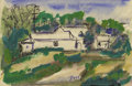 Texas:Early Texas Art - Regionalists, JOSEPHINE MAHAFFEY (1903-1982). Untitled Landscape. Watercolor.4in. x 6in.. Signed lower right. Provenance:. Estate of Jo...