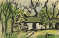 Texas:Early Texas Art - Regionalists, JOSEPHINE MAHAFFEY (1903-1982). Untitled Landscape. Watercolor.5in. x 8in.. Signed lower right. Provenance:. Estate of Jo...