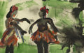 Texas:Early Texas Art - Regionalists, JOSEPHINE MAHAFFEY (1903-1982). Untitled Dancers. Watercolor. 5in.x 7 1/2in.. Unsigned. Provenance:. Estate of Josephine ...