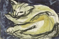Texas:Early Texas Art - Regionalists, JOSEPHINE MAHAFFEY (1903-1982). Untitled Sleeping Cat. Watercolor,ink, and graphite. 5 1/2in. x 8in.. Unsigned. Provenanc...