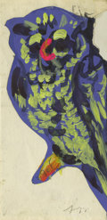 Texas:Early Texas Art - Regionalists, JOSEPHINE MAHAFFEY (1903-1982). Untitled Blue Owl. Watercolor andcollage. 6 1/2in. x 3in.. Signed lower right. Provenance...