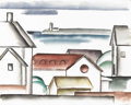 Texas:Early Texas Art - Regionalists, COREEN MARY SPELLMAN (1905-1978). Untitled Landscape with House andWater, 1933. Watercolor (double sided). 19in. x 24in.. U...