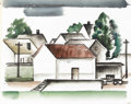 Texas:Early Texas Art - Regionalists, COREEN MARY SPELLMAN (1905-1978). Untitled Landscape with Houses,1933. Watercolor (double sided). 19in. x 24in.. Unsigned, ...