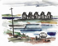 Texas:Early Texas Art - Regionalists, COREEN MARY SPELLMAN (1905-1978). Untitled Houses and Boat, 1933.Watercolor (double sided). 19in. x 24in.. Unsigned, but do...