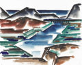 Texas:Early Texas Art - Regionalists, COREEN MARY SPELLMAN (1905-1978). Untitled Mountains, Bridge andRiver, 1933. Watercolor (double sided). 19in. x 24in.. Unsi...