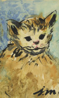 Texas:Early Texas Art - Regionalists, JOSEPHINE MAHAFFEY (1903-1982). Untitled Kitten. Watercolor andink. 9 1/2in. x 6in.. Signed lower right. Provenance:. Est...