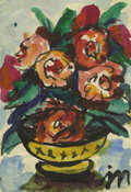 Texas:Early Texas Art - Regionalists, JOSEPHINE MAHAFFEY (1903-1982). Untitled Still Life. Watercolor andink. 8 1/2in. x 6in.. Signed lower right. Provenance:...