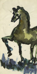 Texas:Early Texas Art - Regionalists, JOSEPHINE MAHAFFEY (1903-1982). Untitled Horse. Watercolor. 10in. x5in.. Signed lower right. Provenance:. Estate of Josep...