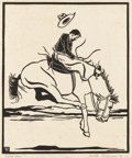 Texas:Early Texas Art - Drawings & Prints, FRANK REDLINGER (1909-1936). Zebra Dunn, 1931. Block print.10 1/2in. x 8 3/4in.. Signed and dated lower right. Titled l...