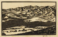 Texas:Early Texas Art - Drawings & Prints, FRANK REDLINGER (1909-1936). Valley, 1932. Block print. 71/4in. x 10 3/4in.. Signed and dated lower right. Titled lower...(Total: 2 Item)