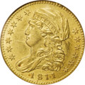 Early Half Eagles: , 1811 $5 Small 5 AU58 NGC. Breen-6464, BD-2, R.3. Obverse State e,Reverse State b, both showing distinct evidence of clashi...