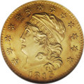 Early Half Eagles: , 1813 $5 MS63 NGC. Breen-6467, BD-2, R.4. This is the first year ofthe modified design that continued through the end of th...