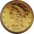 Proof Liberty Half Eagles: , 1893 $5 PR65 Ultra Cameo NGC. Both sides of this amazing Gem proofhave splendid orange-gold color with deep mirrors around...