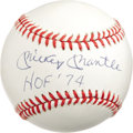 "Autographs:Baseballs, 1980's Mickey Mantle ""H.O.F. 1974"" Single Signed Baseball. Combining exceptional condition with a highly desirable signatur..."
