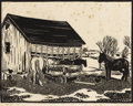 Texas:Early Texas Art - Drawings & Prints, FRANK REDLINGER (1909-1936). Back Lot, 1933. Block print. 91/2in. x 13in.. Signed and dated lower right. Titled lower l...(Total: 2 Items)