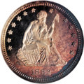 Proof Seated Quarters: , 1882 25C PR67 Cameo NGC. Rich lilac and wheat-gold grace the fieldsof this splendid Superb Gem. Cobalt-blue blushes interm...