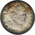 Barber Quarters: , 1901 25C MS66 PCGS. Splashes of golden-brown and sea-green patinacede to silver-gray centers. Well struck aside from the f...