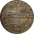 """Colonials: , 1785 COPPER Vermont Copper, VERMONTS XF40 NGC. RR-2, Bressett 1-A, R.2. The first of the popular """"Landscape"""" varieties, whi..."""