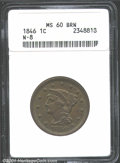 """1846 1C MS 60 Brown ANACS. N-8. Mintage: 4,120,800. The current Coin Dealer Newsletter (Greysheet) wholesale """"bid&q..."""