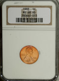 Lincoln Cents: , 1993 1C MS68 Red NGC. NGC Census: (29/1). PCGS Population (120/1).Numismedia Wsl. Price for NGC/PCGS coin in MS68: $60. (...