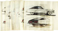 Movie/TV Memorabilia:Original Art, George Barris '72 Mercury Montego Design Sketches. A set of sixink-and-pencil sketches featuring various alternate designs ...(Total: 1 Item)