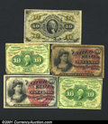 Fractional Currency: , 1862-1863 10c First Issue, Washington, Fr-1242, Fine, two examp...