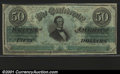 Confederate Notes:1862 Issues, 1862 $50 Black with green overprint; Jefferson Davis, T-50, CU....