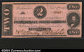 Confederate Notes:1862 Issues, 1862 $2 Judah P. Benjamin, T-54, Choice CU. Crisp, well margine...