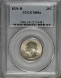 Washington Quarters: , 1936-D 25C MS64 PCGS. PCGS Population (567/397). NGC Census:(268/199). Mintage: 5,374,000. Numismedia Wsl. Price for NGC/P...