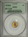 California Fractional Gold, 1876/5 $1 Indian Octagonal 1 Dollar, BG-1129, R.4 MS62 PCGS....