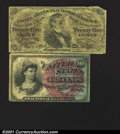 Fractional Currency: , 1869-1875 10c Fourth Issue, Liberty, Fr-1259, Fine; and a 1864-...