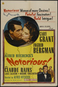 """Movie Posters:Hitchcock, Notorious (Selznick, R-1954). One Sheet (27"""" X 41""""). Hitchcock...."""