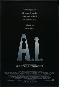 """A. I. Artificial Intelligence (Warner Brothers, 2001). One Sheet (27"""" X 40""""). Science Fiction"""
