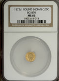 California Fractional Gold, 1872/1 25C Indian Round 25 Cents, BG-870, R.3, MS66 NGC....