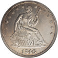 Seated Half Dollars: , 1846 50C 6 Over Horizontal 6 AU58 NGC. WB-104, VP-001. The lovelyplum-gray toning yields to shimmering peach-gold iridesce...