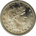 Proof Barber Quarters: , 1905 25C PR67 PCGS. Though the Mint released 727 proof quarters for 1905, no later issue in the series would achieve a mint...
