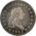 Early Half Dollars: , 1795 50C 2 Leaves VF30 NGC. O-109, R.4. Deep apple-green,powder-blue, and lavender patina envelops this pleasantlydefined...