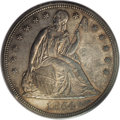 Seated Dollars: , 1854 $1 AU55 PCGS. Peach-tinted luster accompanies the devices andlegends, while the open fi...